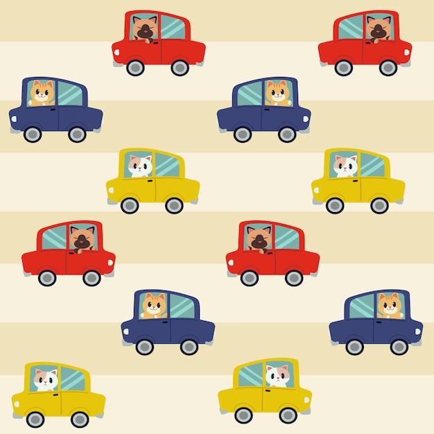 Das nahtlose muster des katzenautofahrens Premium Vektoren