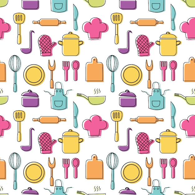 Das nahtlose muster des kochen von nahrungsmitteln und die bunten ikonen der küchen umreißen auf weißen hintergrund Premium Vektoren