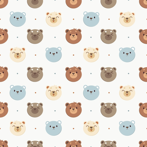 Das nahtlose muster des weißen bären und des blauen bären und des braunbären mit tupfen. der charakter des netten bären in der flachen vektorart. Premium Vektoren