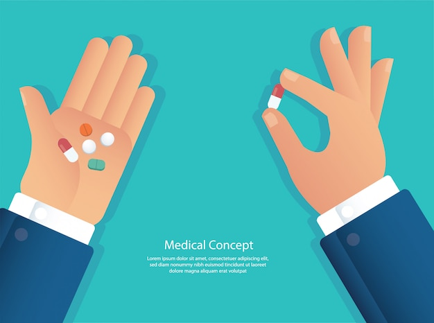 Das pillenkonzept von medizinischem nehmen Premium Vektoren