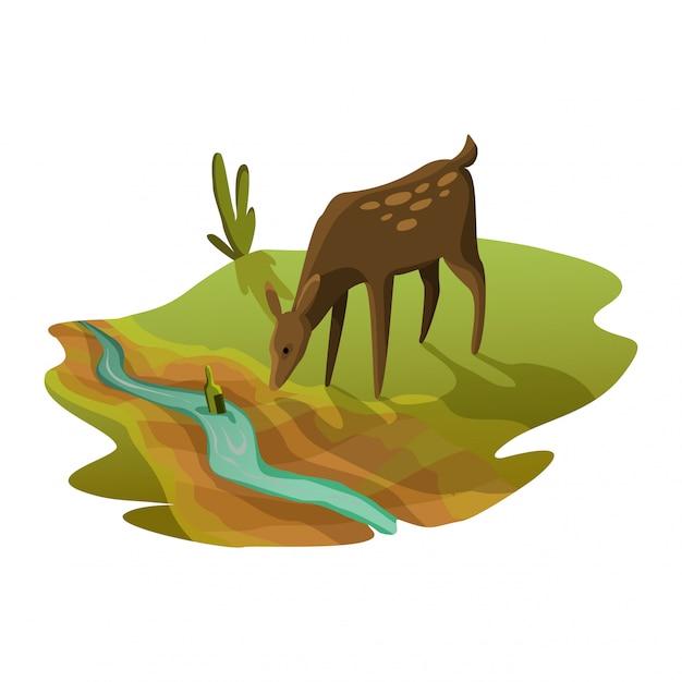 Das rogen-trinkwasser aus dem fluss ist fast trocken. warnung ökologieplakat. konzept globale dürre Premium Vektoren