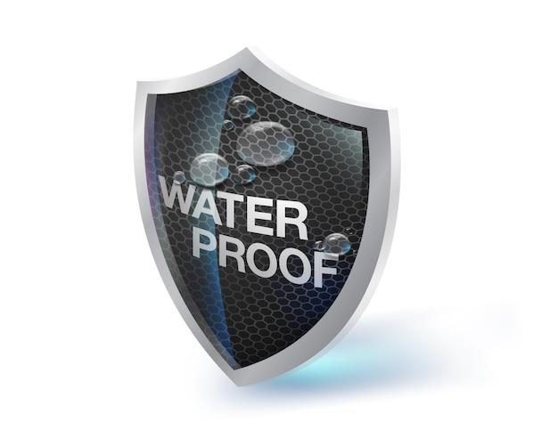 Das schildsymbol steht für wasserdichte, feuchtigkeits- und hitzebeständige materialien auf weißem hintergrund. zukünftige wasserdichte technologiekonzepte. stoffe, kunstleder, metalle, spezialfarben. Premium Vektoren