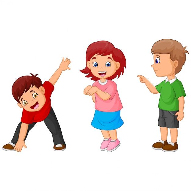 Das spiel der glückliche kinder der lustigen karikatur Premium Vektoren