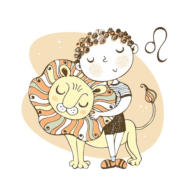 The zodiac sign leo. cute boy with a lion cub. Premium Vector