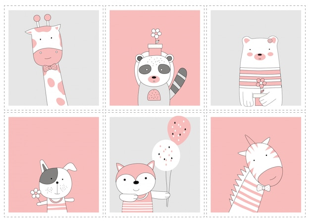 Das süße tierbaby. cartoon-skizze-tierart Premium Vektoren