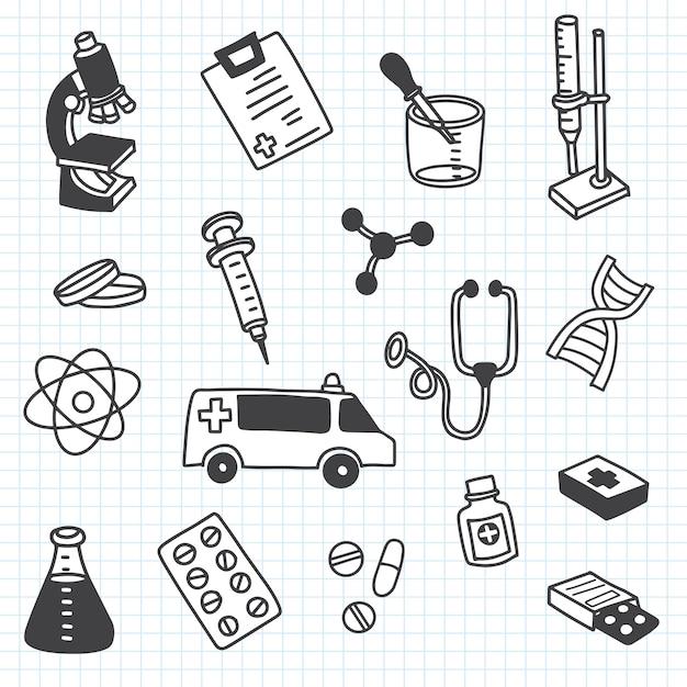 Das süßeste gekritzelmedizin-symbolsatz für ihr design. hand gezeichnete gesundheitspflege, apotheke, medizinische karikaturikonensammlung. Premium Vektoren