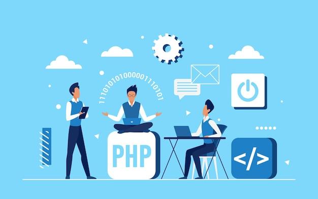 Das team der programmierer-programmierer arbeitet an der anwendungsentwicklung Premium Vektoren