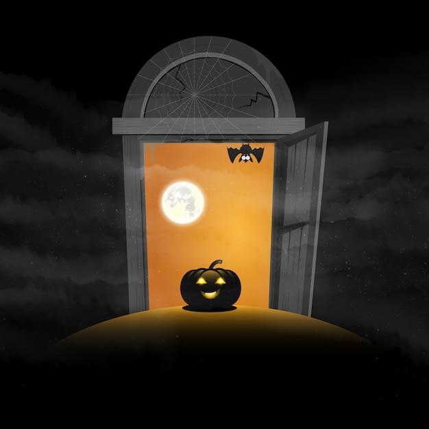 Das tor von halloween-tageskürbisraum für textvektor Premium Vektoren