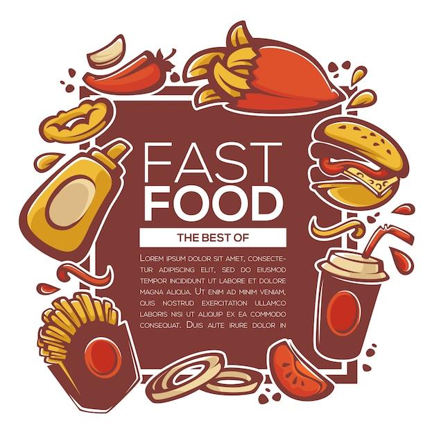 Das traditionelle beste aus amerikanischen fastfood-zutaten Premium Vektoren