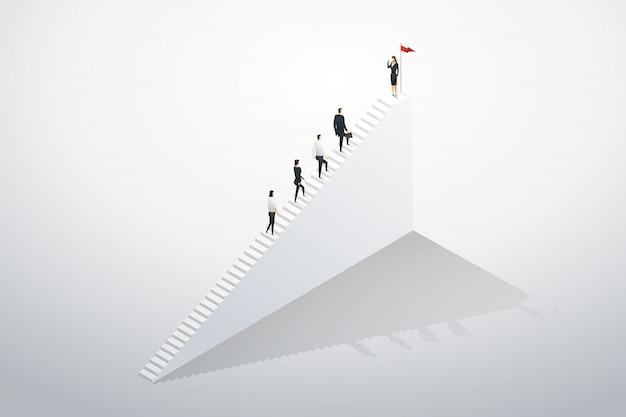 Das treppensteigen des geschäftsmannschaftsführerteams tritt auf erfolg. Premium Vektoren