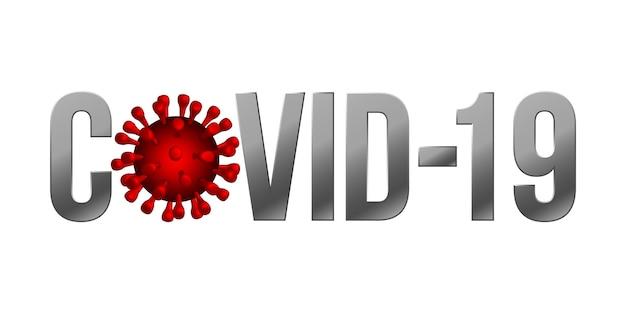 Das wort covid-19 mit coronavirus-symbol., 2019-ncov neuartiges coronavirus-konzeptzeichen Premium Vektoren