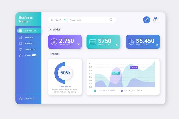 Dashboard-benutzeroberfläche Kostenlosen Vektoren