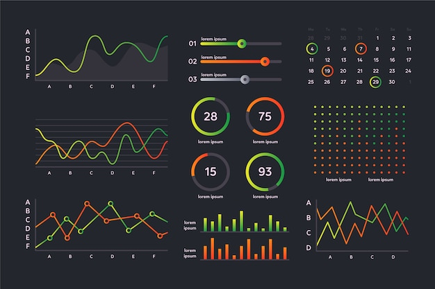 Dashboard-elementauflistungsvorlage Kostenlosen Vektoren