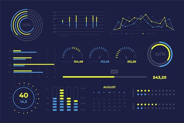 Dashboard-elementsammlung Kostenlosen Vektoren