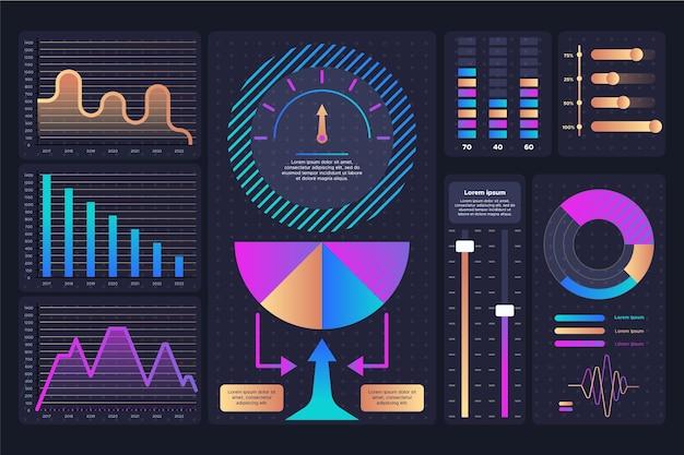 Dashboard infographik elementsatz Kostenlosen Vektoren