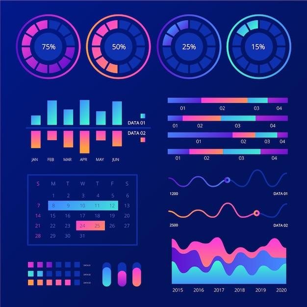 Dashboard infographik vorlage elementpaket Kostenlosen Vektoren