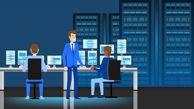 Data center engineer workplace Premium Vektoren