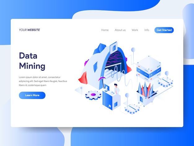 Data mining isometrisch für website-seite Premium Vektoren