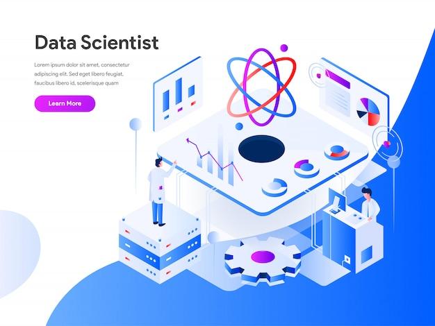 Data scientist isometric für website-seite Premium Vektoren