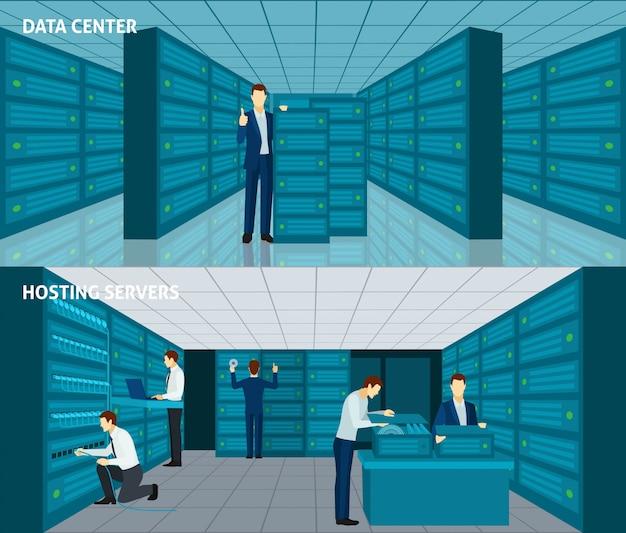 Datacenter-banner-set Kostenlosen Vektoren