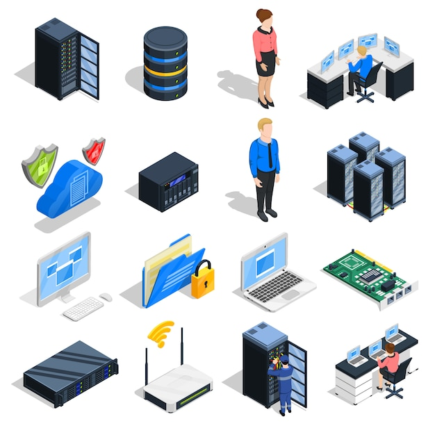 Datacenter elements icon set Kostenlosen Vektoren