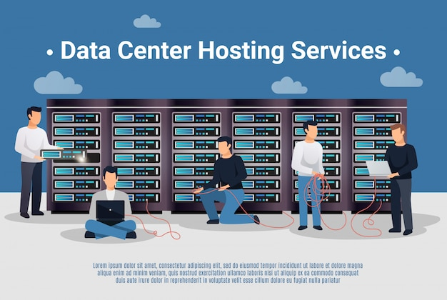 Datacenter-hosting-illustration Kostenlosen Vektoren