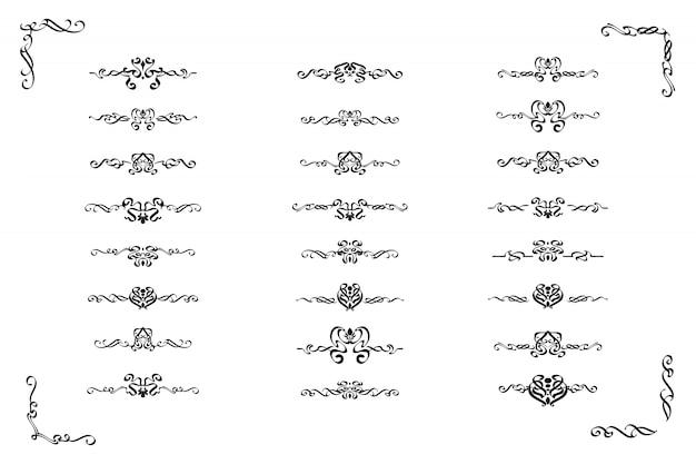 Datei des klassischen ornamentrahmens, weinleserandsatz. Premium Vektoren