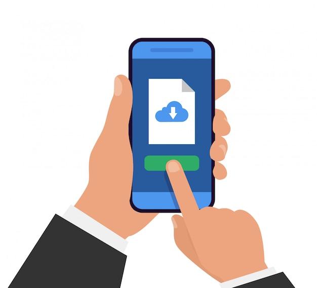 Datei mit dem telefon herunterladen. herunterladen von dokumenten. hand hält smartphone mit download-datei. Premium Vektoren