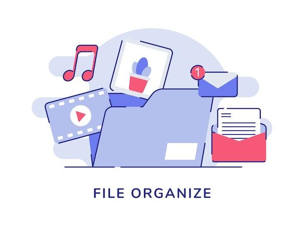 Datei organisieren konzept video musik bild e-mail-nachricht in datei ordner weißen isolierten hintergrund Premium Vektoren