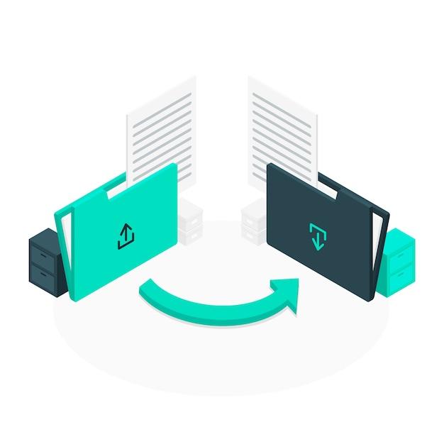 Dateiübertragung konzept illustration Kostenlosen Vektoren