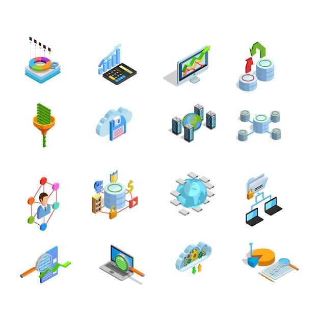 Daten analysiert die eingestellten isometrischen ikonen der elemente Kostenlosen Vektoren