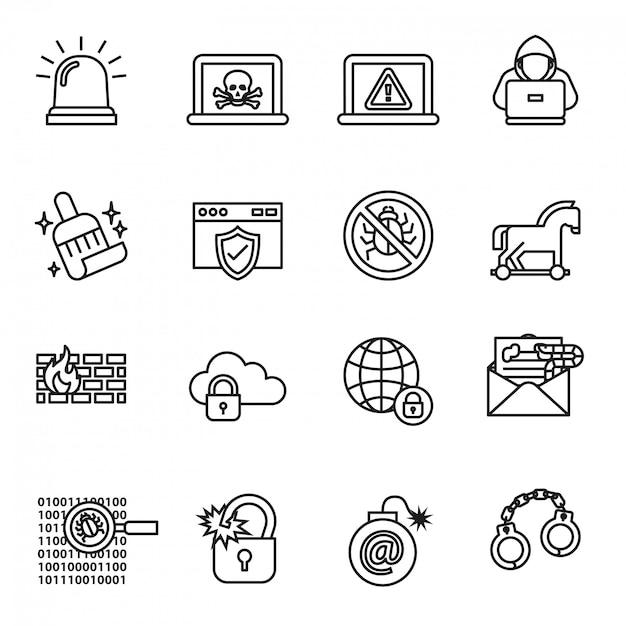 Daten-, computer- und cyber-sicherheits-icon-set Premium Vektoren
