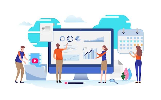 Datenanalyse. businessplan-zeitplan. Premium Vektoren