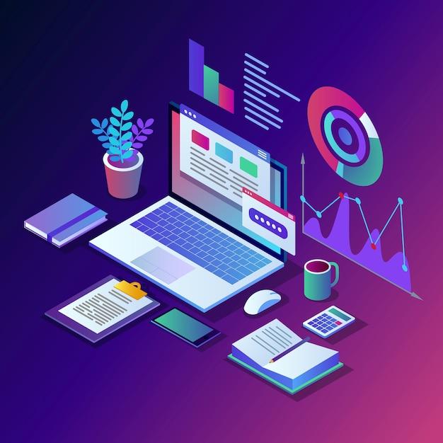 Datenanalyse. digitale finanzberichterstattung, seo, marketing. geschäftsführung, entwicklung. isometrischer laptop, computer, pc mit grafik, diagramm, statistik. für die website Premium Vektoren