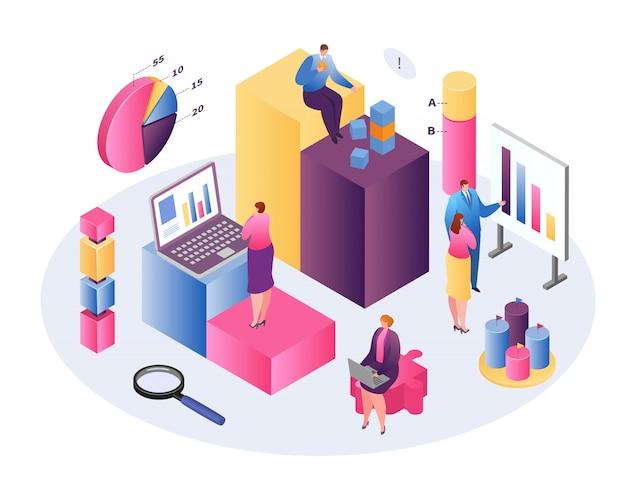 Datenanalyse geschäftstechnologie isometrisches konzept, analyse in forex, renten und märkten, diagramme und zusammenfassende informationen zeigen über statistik und analyse wert, vermögensverwaltungskonzept. Premium Vektoren