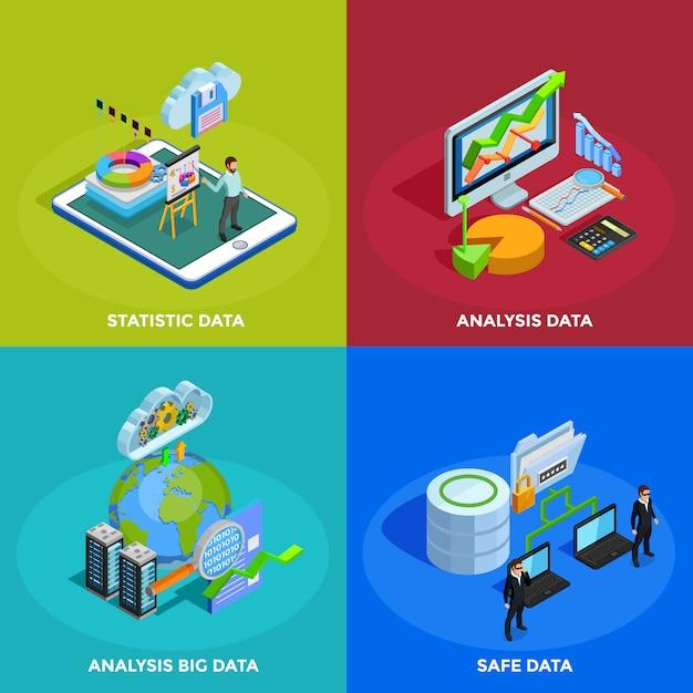 Datenanalyse-isometrisches ikonen-quadrat Kostenlosen Vektoren