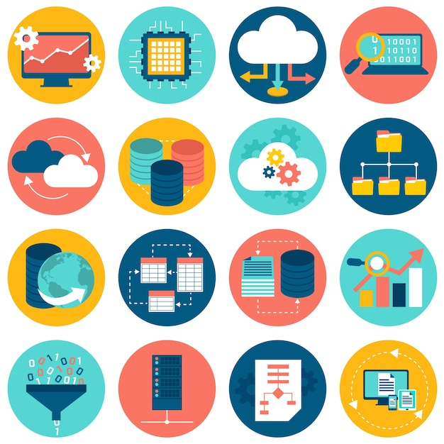 Datenanalyse-Symbole Kostenlose Vektoren