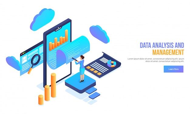 Datenanalyse- und managementkonzept. Premium Vektoren