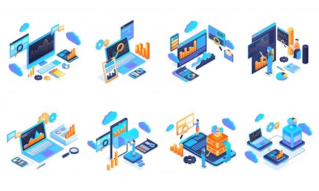 Datenanalyse und -verwaltung. Premium Vektoren