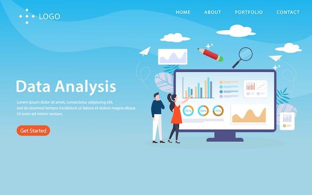Datenanalyse, websiteschablone, überlagert, einfach zu bearbeiten und besonders anzufertigen, illustrationskonzept Premium Vektoren