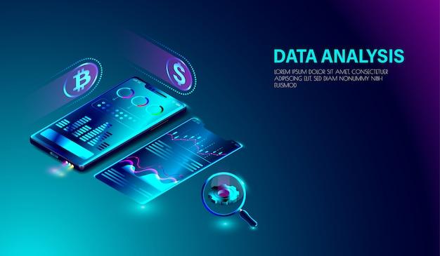 Datenanalysesystem auf dem smartphone Premium Vektoren