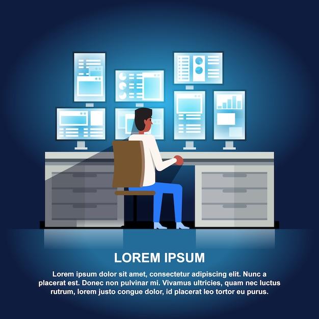 Datencenter-illustration. Premium Vektoren