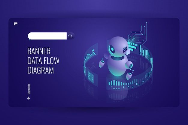 Datenflussdiagramm, business helper und support, automatische datenverarbeitung, künstliche intelligenz Kostenlosen Vektoren