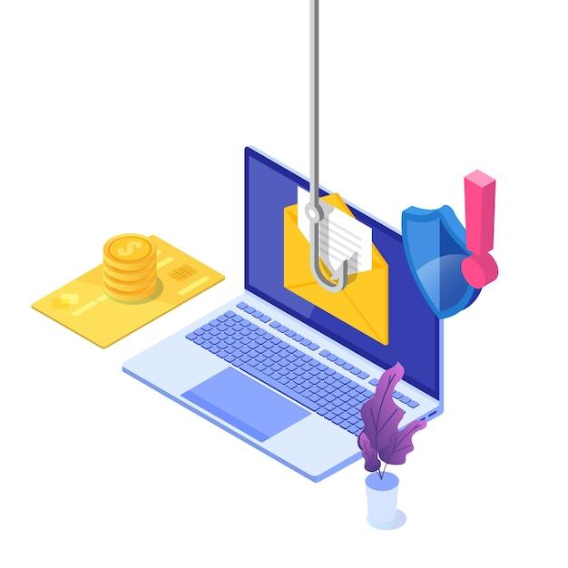 Datenphishing isometrisch, hacking online-betrug auf laptop-konzept. angeln per e-mail. cyberdieb. Premium Vektoren