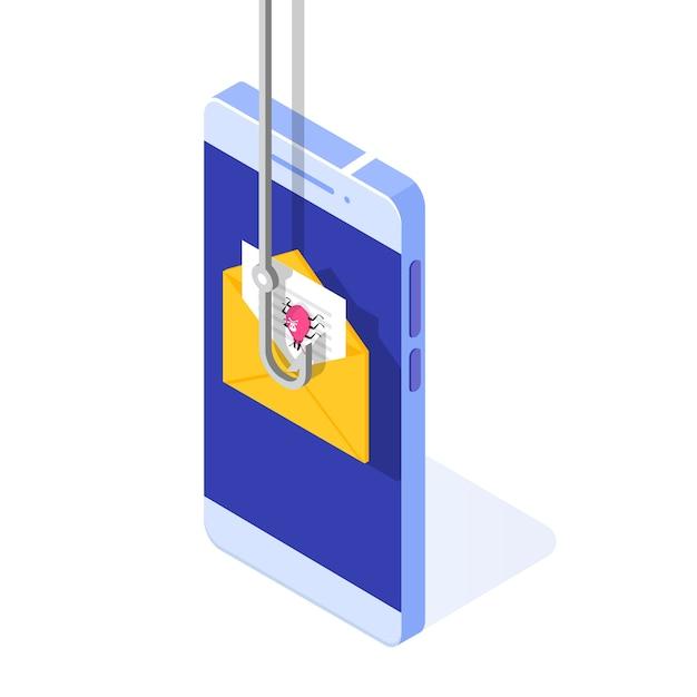 Datenphishing isometrisch, online-betrug auf smartphone-konzept hacken. angeln per e-mail. cyberdieb. Premium Vektoren