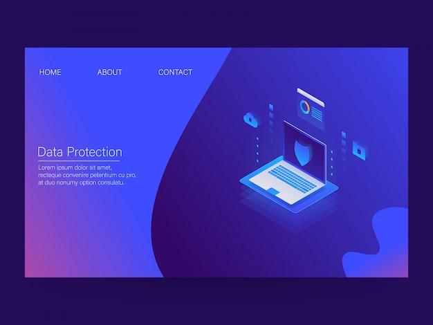 Datenschutz-landingpage Premium Vektoren