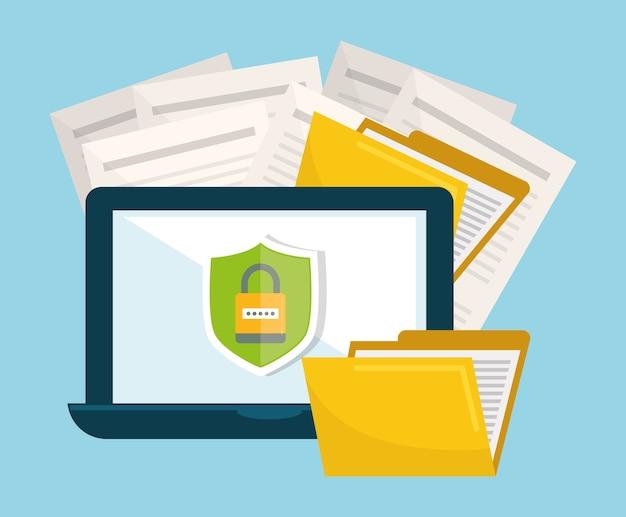 Datenschutz und sicherheitssystem grafische symbole Premium Vektoren