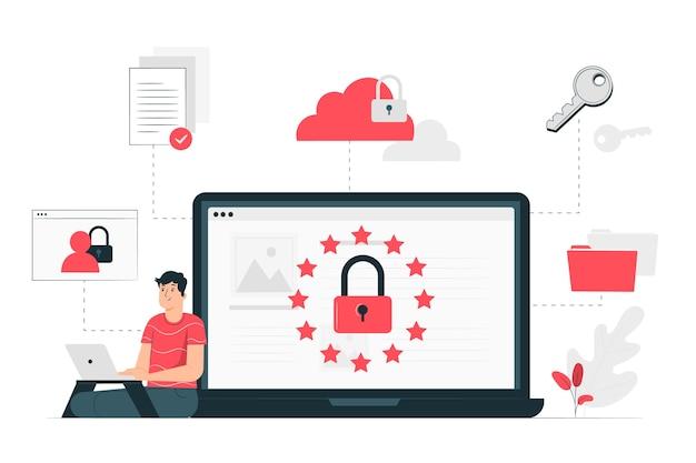Datenschutzgesetz-illustrationskonzept Kostenlosen Vektoren