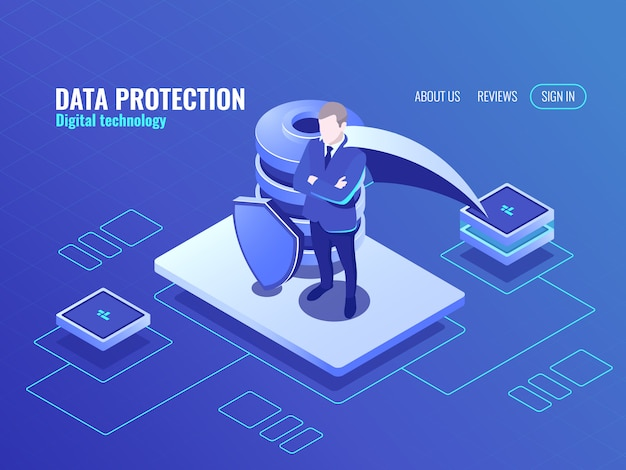 Datenschutzkonzept, der mann im mantel superheld, isometrische ikone der datenbank, schild geschützt Kostenlosen Vektoren