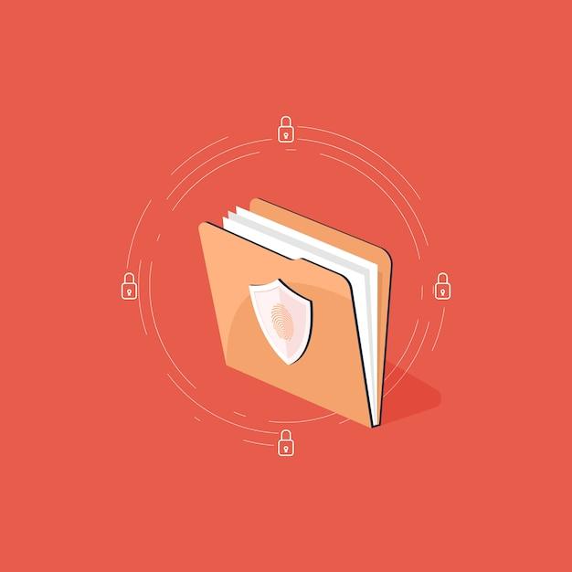 Datenschutzkonzept, sicherheitsdokument für dateiordner und abbildung zur datensicherheit Premium Vektoren